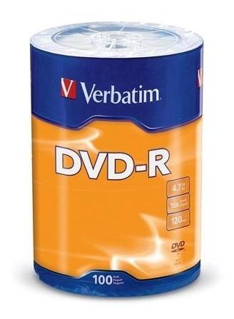 Verbatim Dvd-r 4.7gb 16x 100pk Spindle