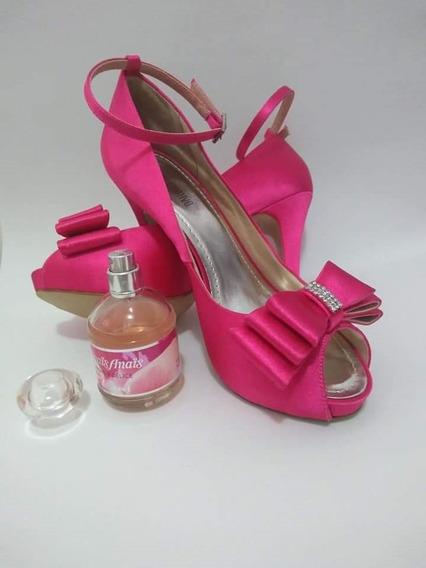 Sapato Pink Noiva Com Laço E Strass