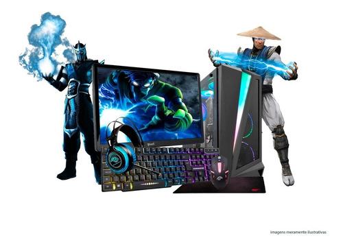 Imagem 1 de 7 de Pc Gamer Core I7 16gb Ssd Geforce Kit Gamer Tela19 Completo
