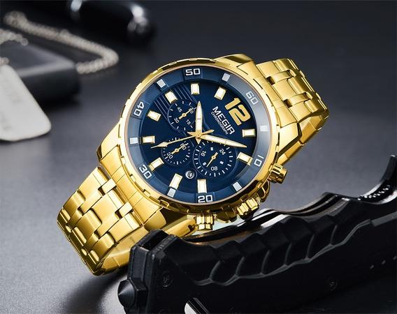 Relógio Megir Original Luxo A Prova D´água Aço Inoxidável