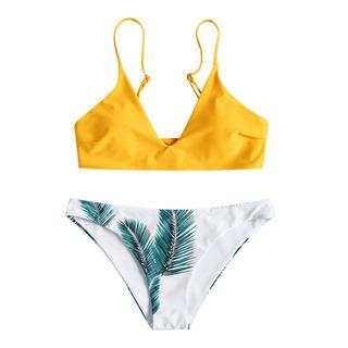 Mujeres Dos -piece Del Traje De Baño Sexy Bikini Hojas Impr