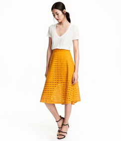 Falda H&m Algodón Bordado Amarilla 10 #705