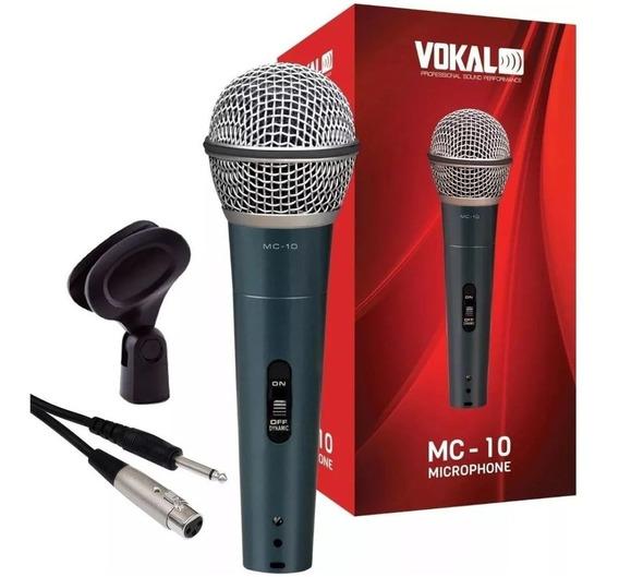 Microfone Dinâmico Profissional Vokal Mc10 Bag Cabo Cachimbo