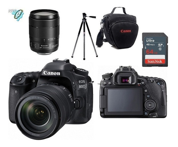 Canon 80d 18-135mm Is Usm + Bolsa+tripé+64gb Nota Fiscal
