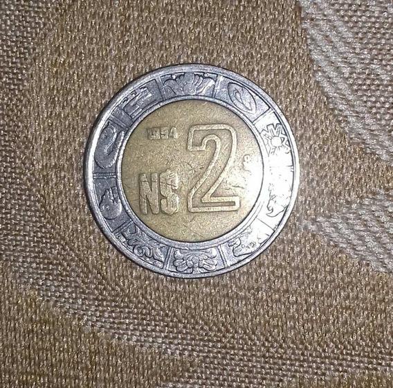 Moneda $2 Nuevos Pesos México 1994 - Rara De Colección
