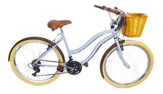 Bicicleta Vintage Retrô Beach Com Cestinha Vime 18 Marcha