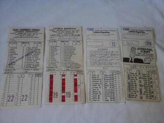 Lote 4 Volantes De Loteria Esportiva Anos 70