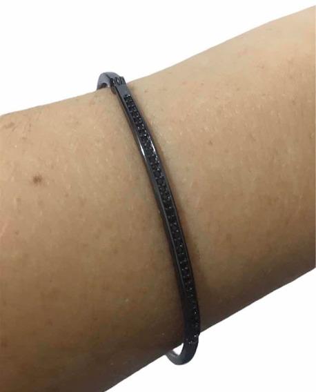 Bracelete Banhado Ouro 18k Ródio Cravado Com Zircônia Negr