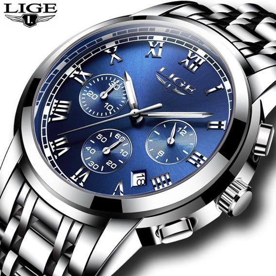 Relógio Masculino Lige Silver Blue Steel