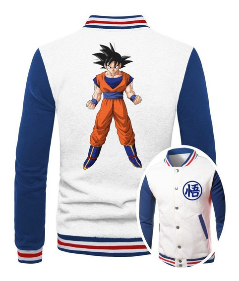 Jaqueta College Masculina Branca Dragon Ball Goku