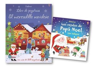** Combo 2 Libros Navidad ** Papa Noel Pegatinas Usborne