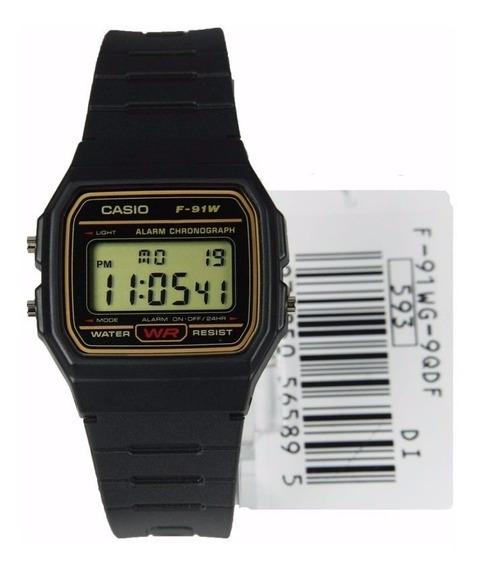 Casio F91wg Digital Alarme Crono Série Ouro Cx Nota Fiscal