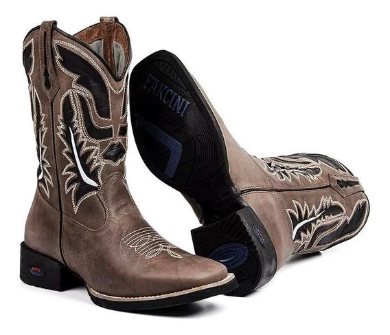 Bota Texana Masculina Country Botina Cano Alto Couro Legitimo Varios Modelos