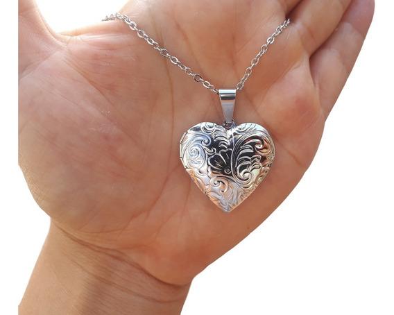Relicário Aço Inox Prata Coração Para Duas Fotos Promoção!