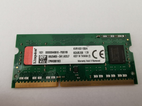 Memoria Kingston 4gb 1600mhz Ddr3 Note Kvr16s11s8/4 L/descri