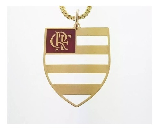 Pingente C. R. Flamengo Banhado Ouro. C3p716