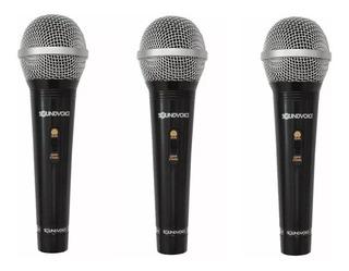 Kit 3 Microfone C/ Fio C/ Chave Soundvoice Sm100 + Cabo