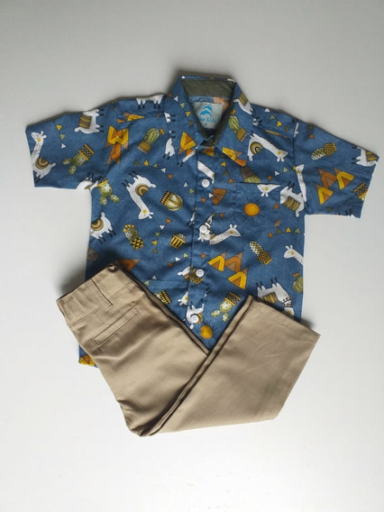 Roupa Festa Tema Lhamas Camisa Temática Menino 1 À 3 Anos
