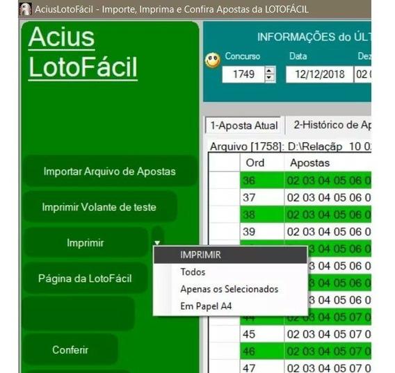 Aciuslotofacil - Imprima Volantes - Teste Planilhas