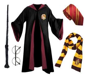 Capa Grifinória Gravata Varinha Cachecol Óculos Harry Potter