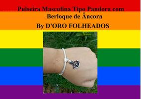 Pulseira Masculina Réplica Pandora Berloque Âncora De Brinde