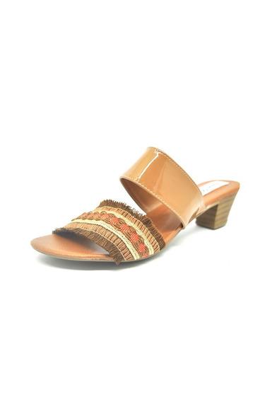 Sapatos Femininos Tamanco Verniz Caramelo Dani K
