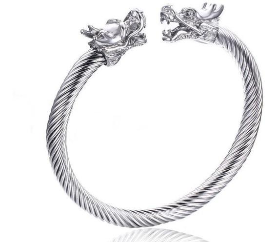 Pulseira De Aço Cabeça De Dragão Bracelete Masculino Prata