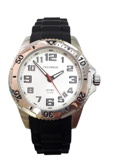 Relógio Technos Borracha 2315dc/8k Preto E Branco 2315 8k