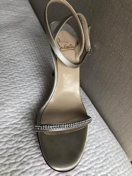 Zapato Seda Plateado Talle 40.5 Importado