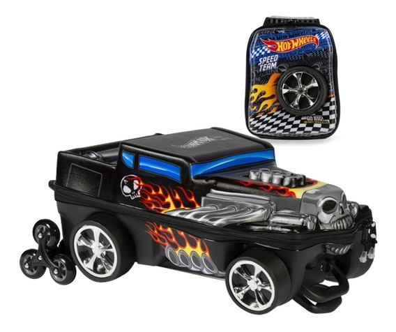 Mochila + Lancheira 3d Max Toy Hot Wheels Bone Shaker