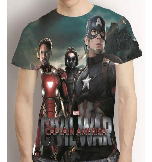 Camisa Film Camiseta Capitão America Civil War Estampa Total