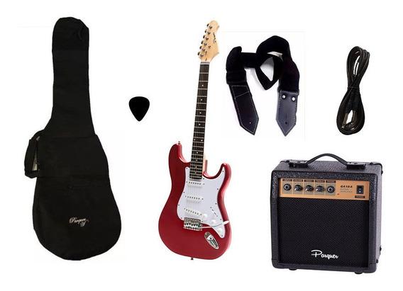 Combo Guitarra Electrica Parquer Roja Amplif 10w Funda Cuota