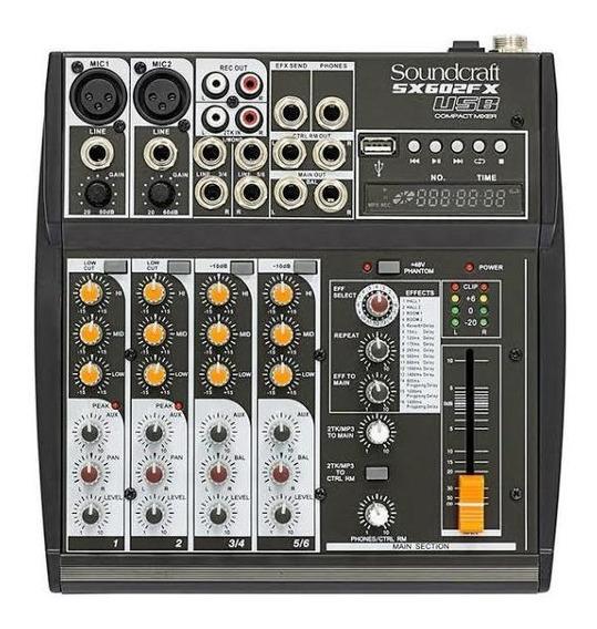 Mesa De Som Soundcraft 6 Canais Usb C/efeito Sx602fx-usb