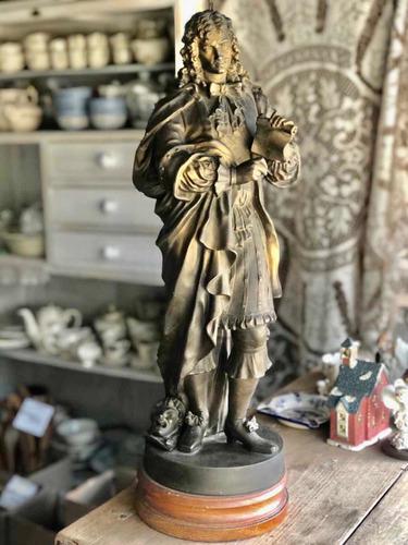 Imagen 1 de 7 de Antigua Escultura Petit Bronce Moliere