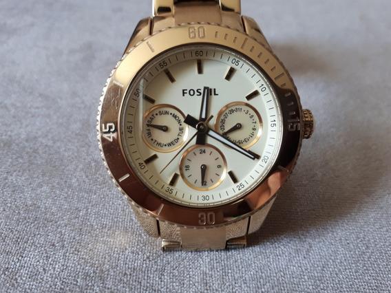 Relógio Original Fossil Dourado Brilhante Com Madrepérola