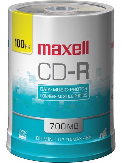 100 Discos Cd En Blanco Maxell Cdr Nuevo