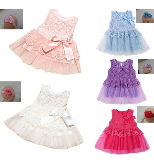 2 Vestidos De Bebé & 2 Faixa De Brinde Bebé De 9 A 12 Meses