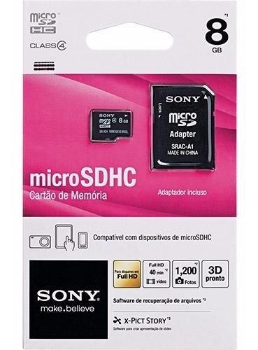 Cartão De Memória Sony 8gb Micro Sd Com Adaptador