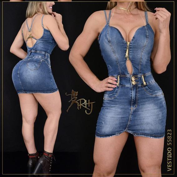 Vestido Justo Rhero Jeans, Com Bojo Nos Seios, Lançamento.