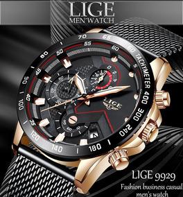 Relógio Masculino Lige: Luxo Cronógrafo Funcional Calendário
