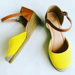 fbfe163a70 Sandalia Anabela De Lona Amarela Feminino - Sapatos no Mercado Livre ...
