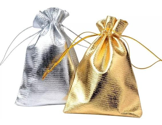 50 Bolsas Metalicas De 9x7 Cm, Con Correa Ajustable