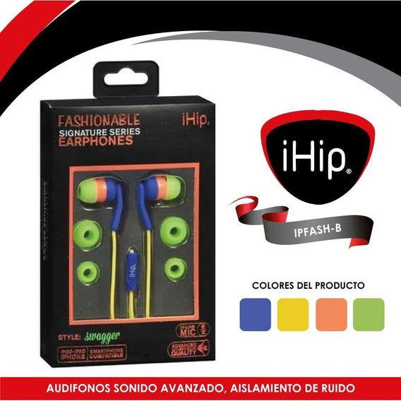 Audifonos Con Microfono Fashionable Verde/azul Ihip Ipfash-1