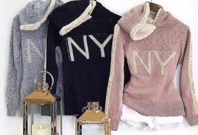 Blusa Tricot Com Perola Capuz Ny Inverno Blogueira