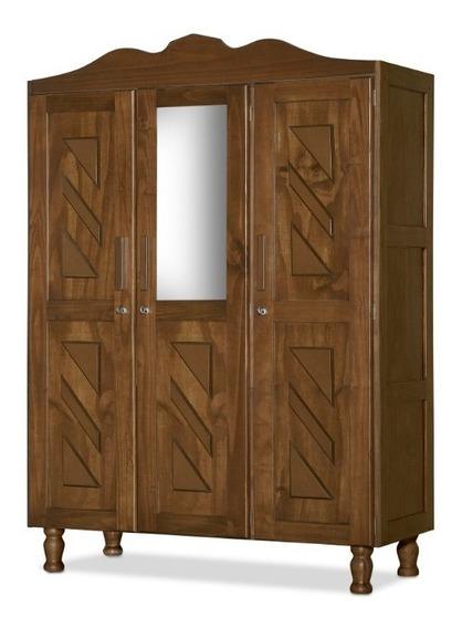 Guarda Roupa Roupeiro Grande Com Espelho 100% Madeira Maciça 3 Portas Madeira De Reflorestamento Ecológico Moscou