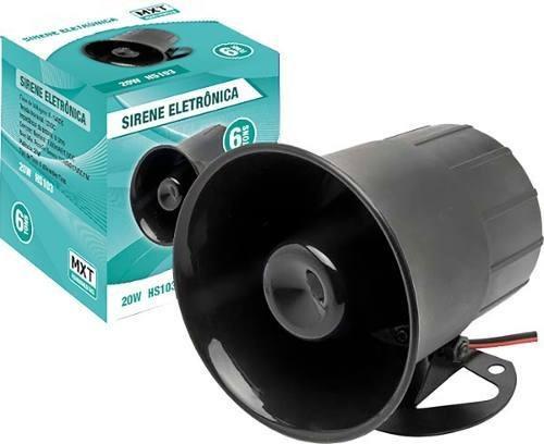 Sirene Eletrônica 6 Tons 12v 20w 116 Db Hs103 Mxt Alarme