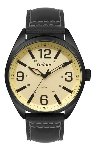 Relógio Condor Preto Masculin Pulseira De Couro Co2035mpe/2d