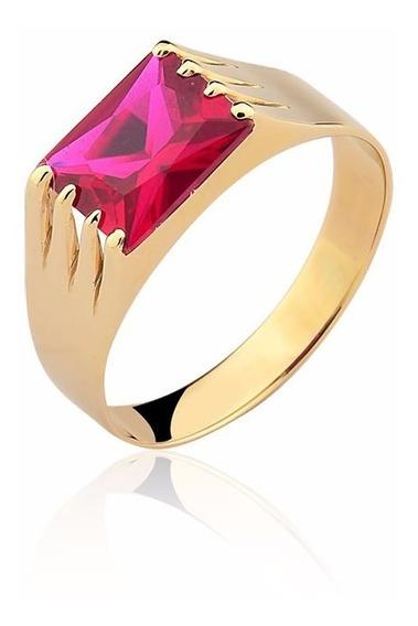 Anel Pedra Vermelha Masculino Ouro 10k Puro A127