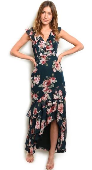Vestido Casual Largo, Escote V, Holanes, Elegante, Fresco.