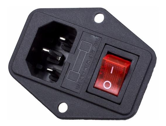 Tomada Força Com Interruptor E Porta Fusível Impressora 3d